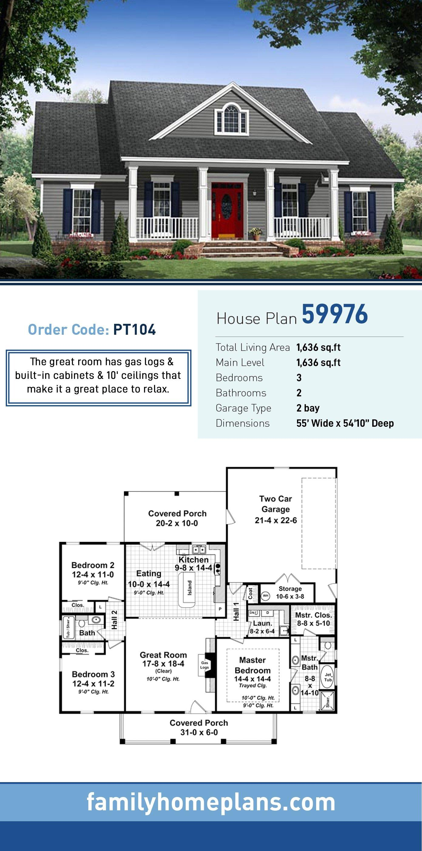 Colonial, Country, Ranch, Traditional House Plan 59976 with 3 Beds, 2 Baths, 2 Car Garage
