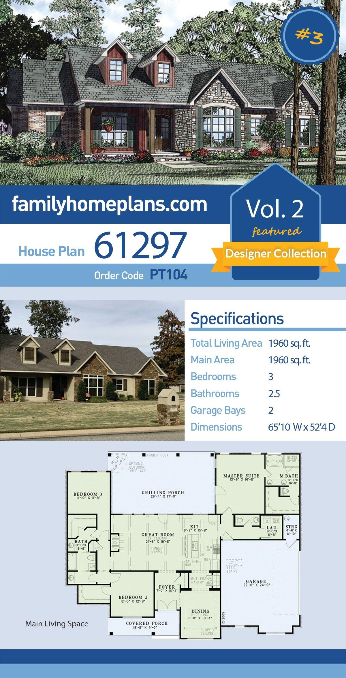 Country, Craftsman, Ranch, Traditional House Plan 61297 with 3 Beds, 3 Baths, 2 Car Garage