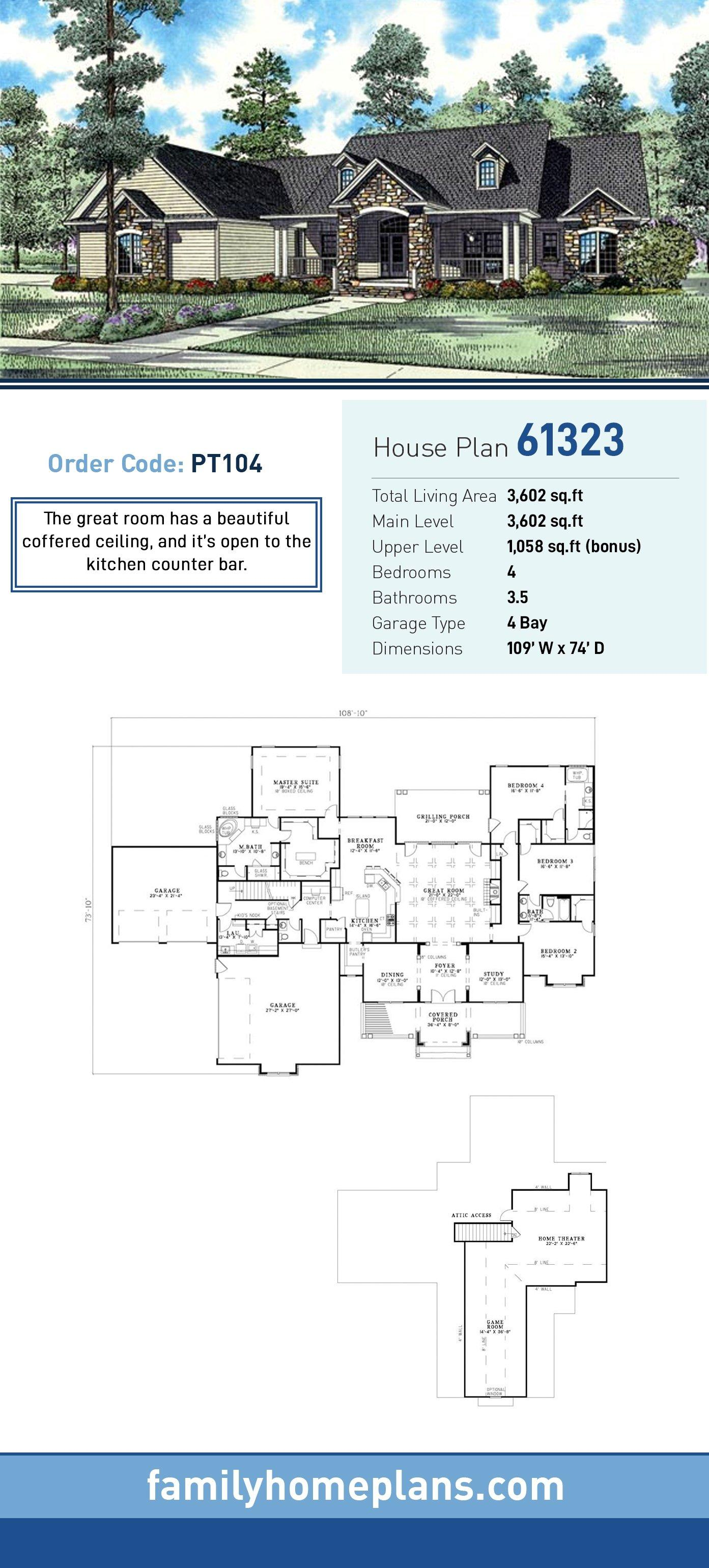 Country, Craftsman, Traditional House Plan 61323 with 4 Beds, 4 Baths, 4 Car Garage