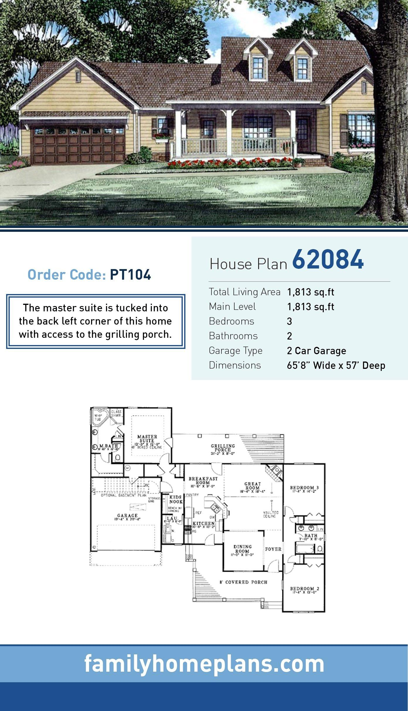 Country, Southern, Traditional House Plan 62084 with 3 Beds, 2 Baths, 2 Car Garage