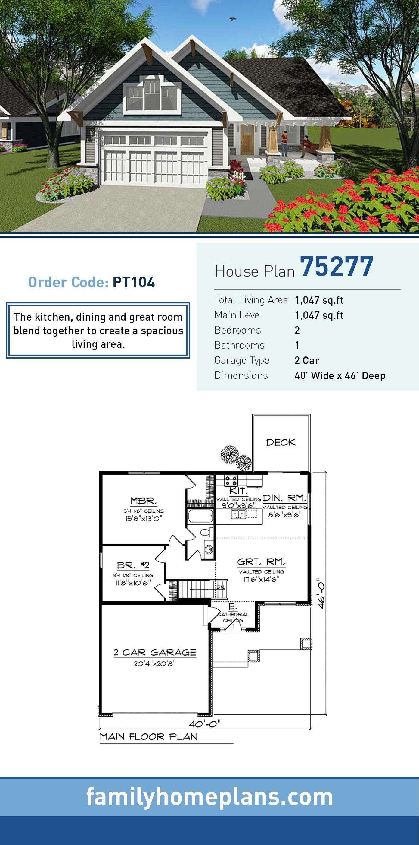 Bungalow, Cottage, Craftsman, Southern, Traditional House Plan 75277 with 2 Beds, 1 Baths, 2 Car Garage