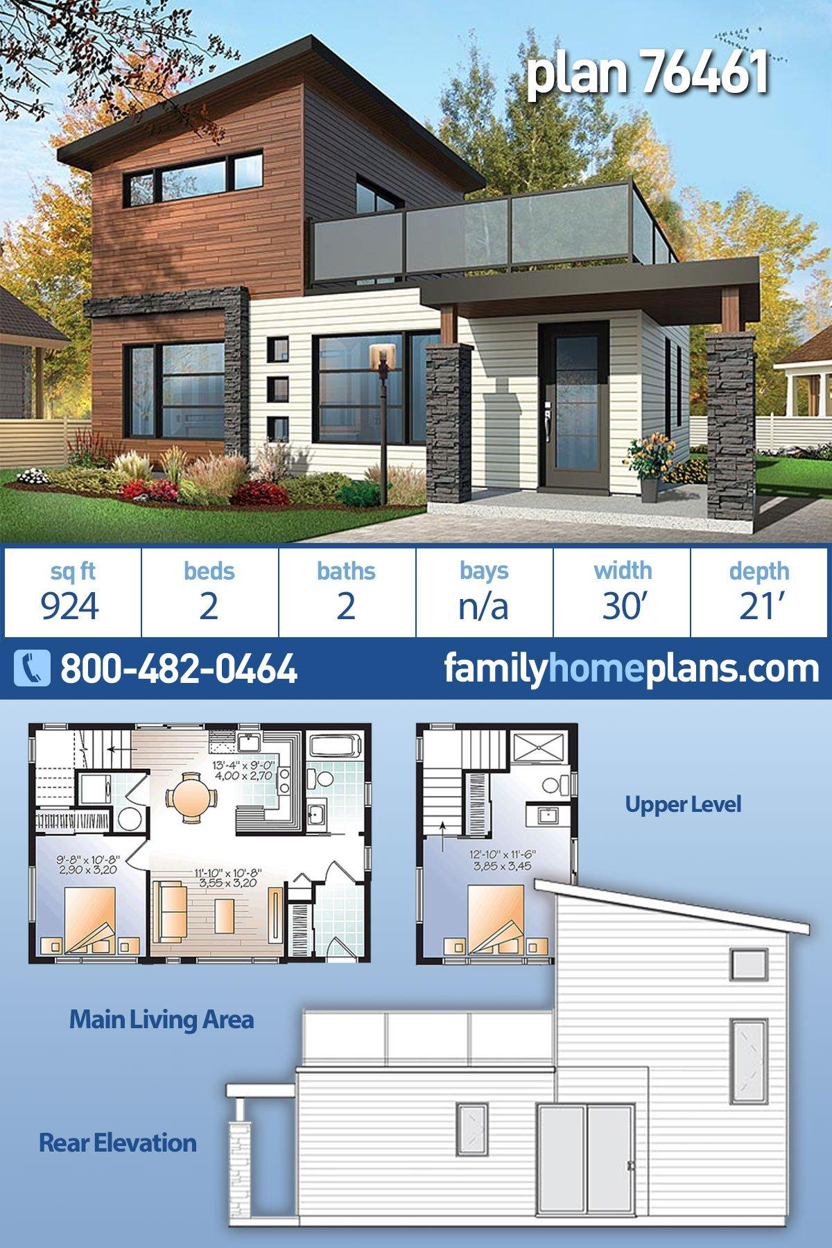 Contemporary, Modern House Plan 76461 with 2 Beds, 2 Baths