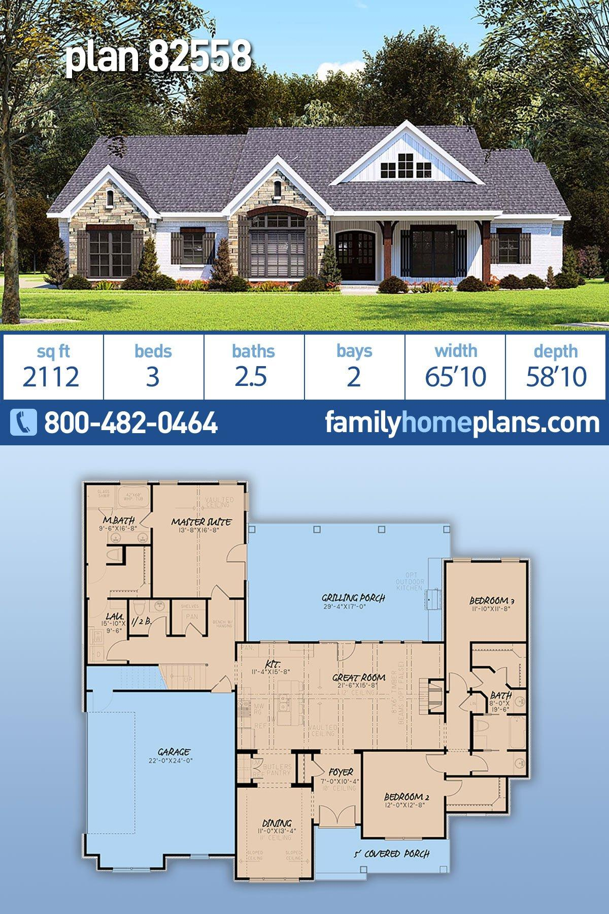 Country, Farmhouse, One-Story, Ranch, Traditional House Plan 82558 with 3 Beds, 3 Baths, 2 Car Garage