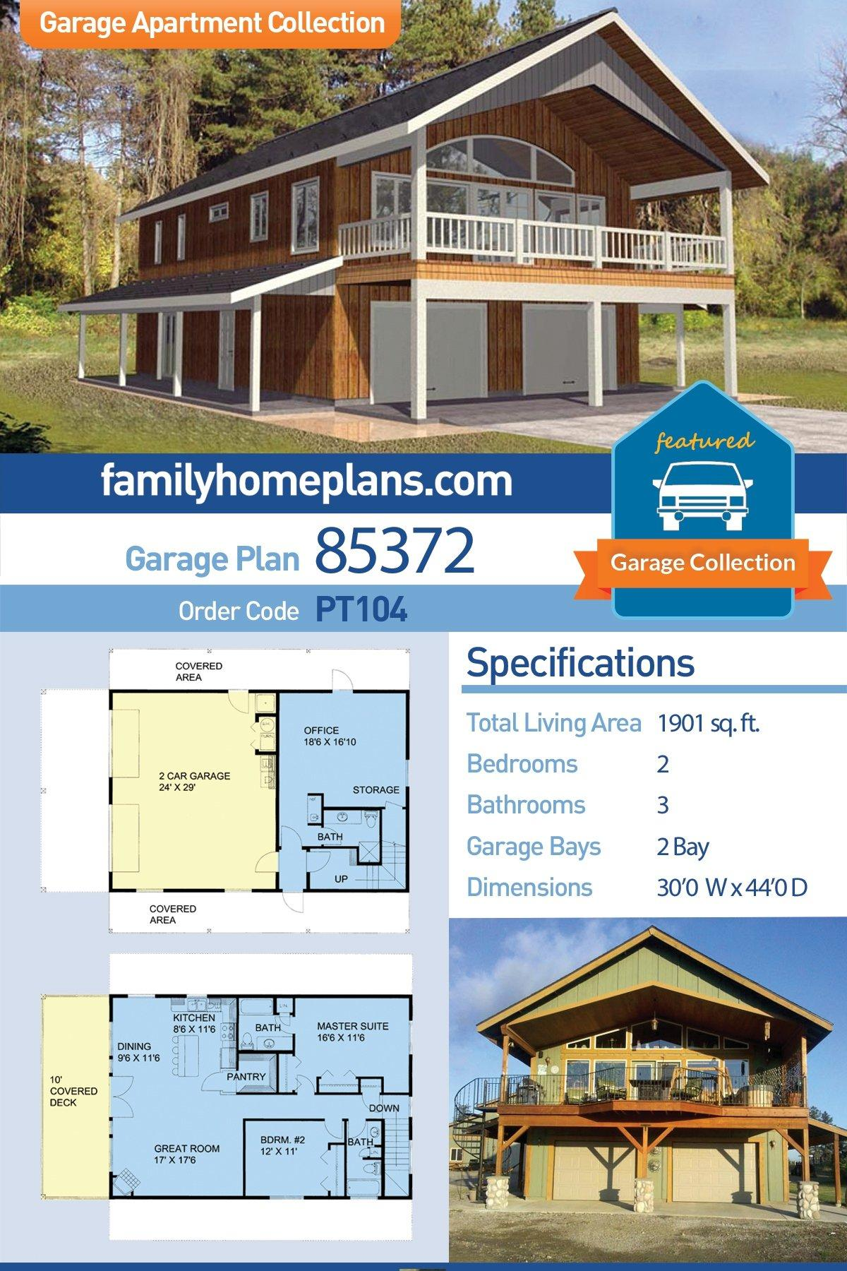 Contemporary, Farmhouse Garage-Living Plan 85372 with 2 Beds, 3 Baths, 2 Car Garage