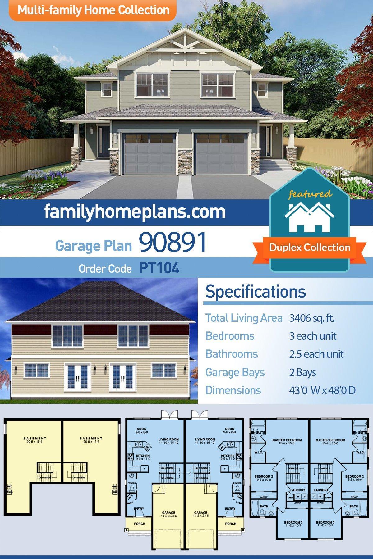 Craftsman Multi-Family Plan 90891 with 6 Beds, 6 Baths, 2 Car Garage