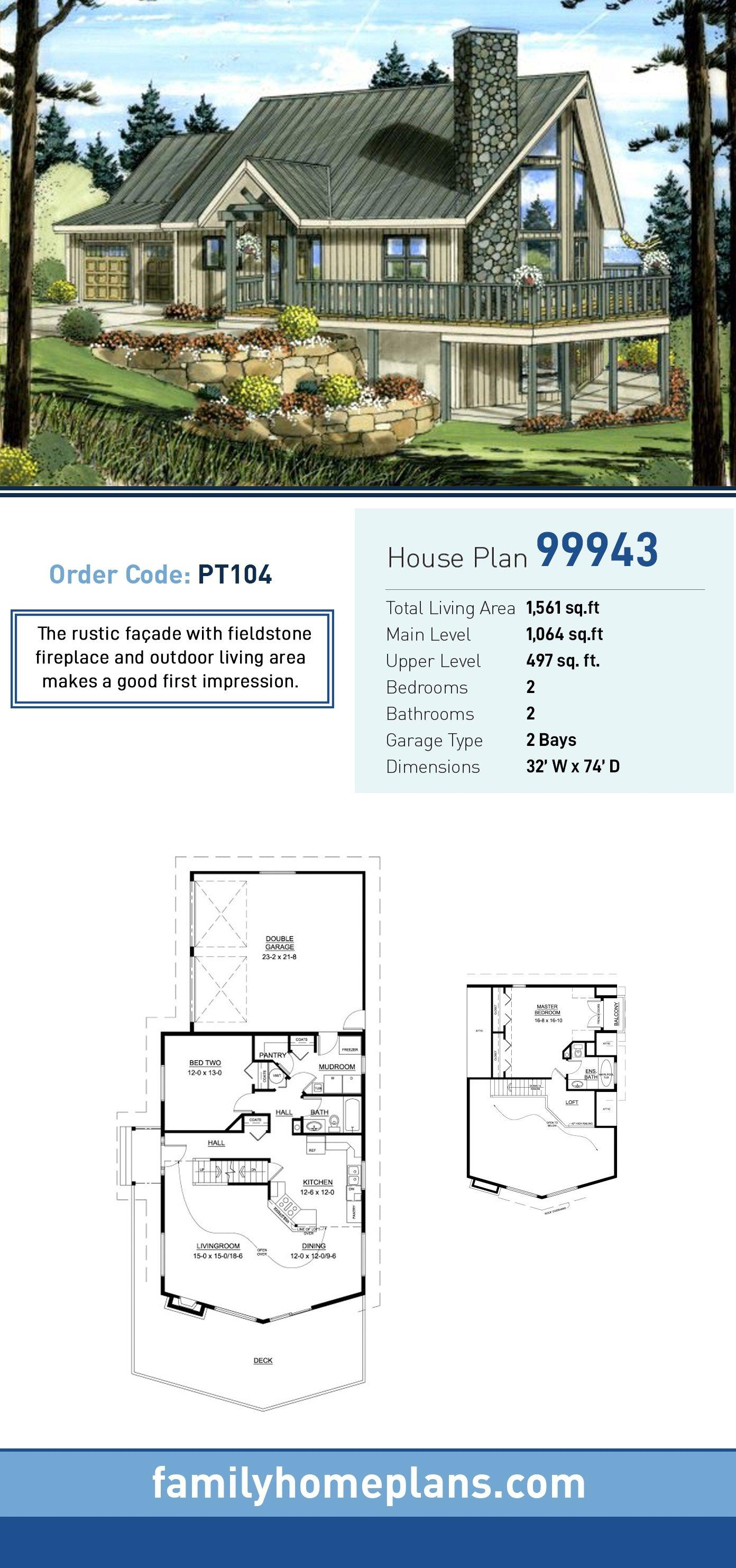 Contemporary House Plan 99943 with 2 Beds, 2 Baths, 2 Car Garage