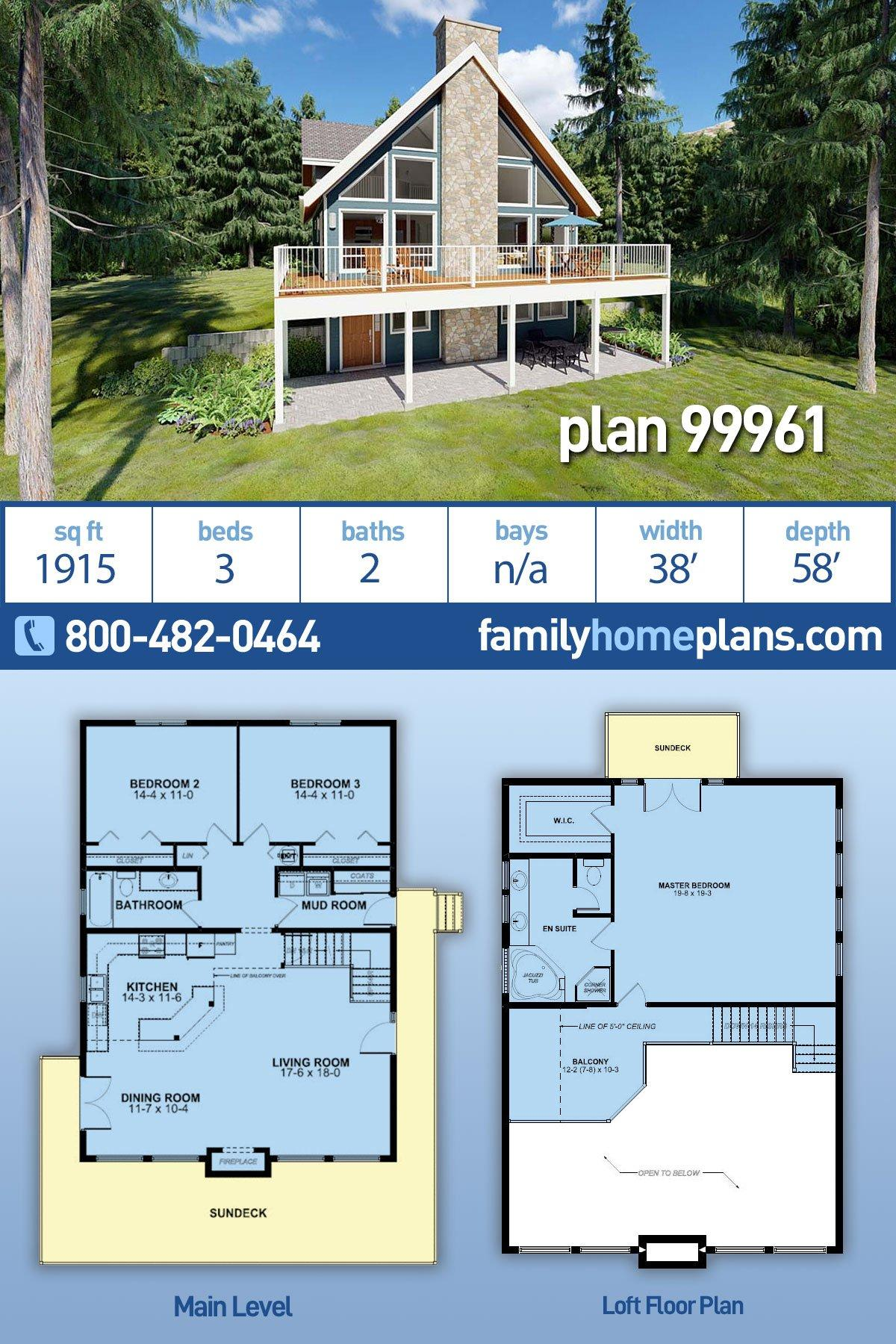 Contemporary, Traditional House Plan 99961 with 3 Beds, 2 Baths