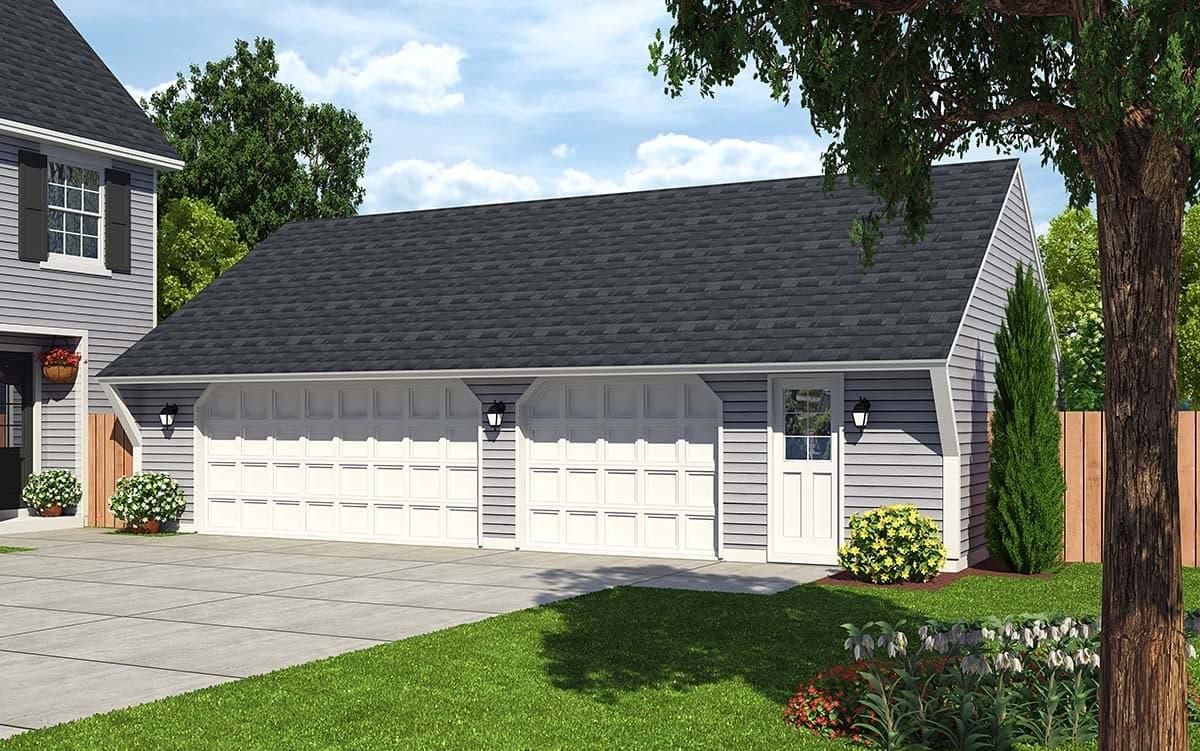 Cape Cod, Saltbox, Traditional 3 Car Garage Plan 30022 Elevation
