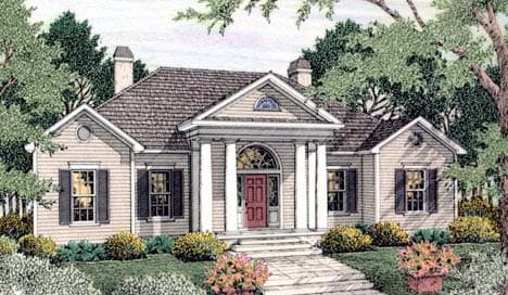 Colonial, European House Plan 40023 with 4 Beds, 3 Baths, 2 Car Garage Elevation