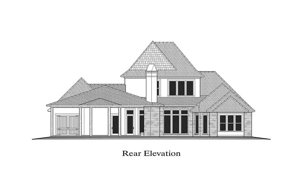 European, French Country, Southern House Plan 40338 with 4 Beds, 5 Baths, 3 Car Garage Rear Elevation