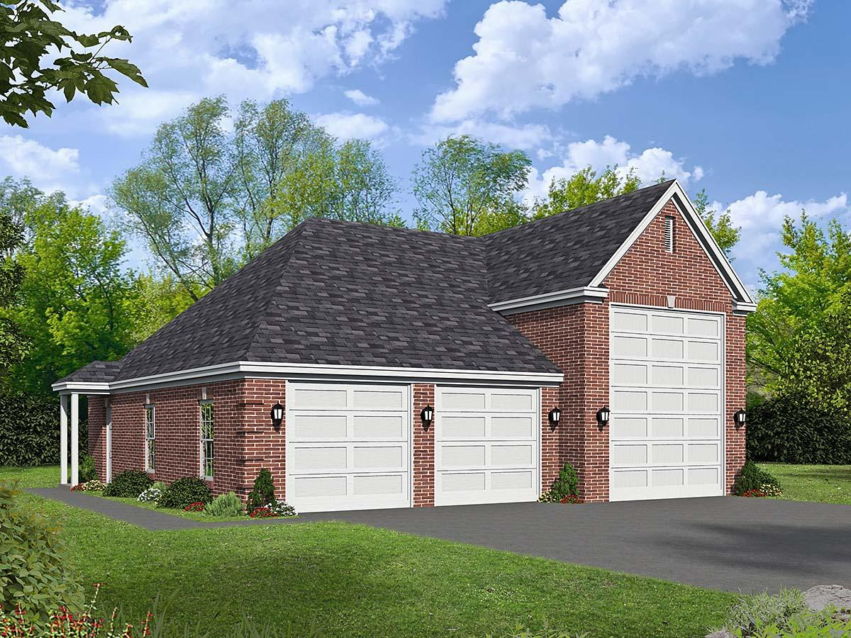French Country, Traditional 3 Car Garage Plan 40872, RV Storage Elevation