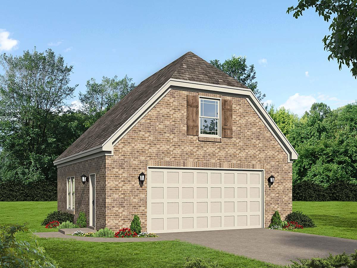 Country, French Country, Traditional 2 Car Garage Plan 40886 Elevation