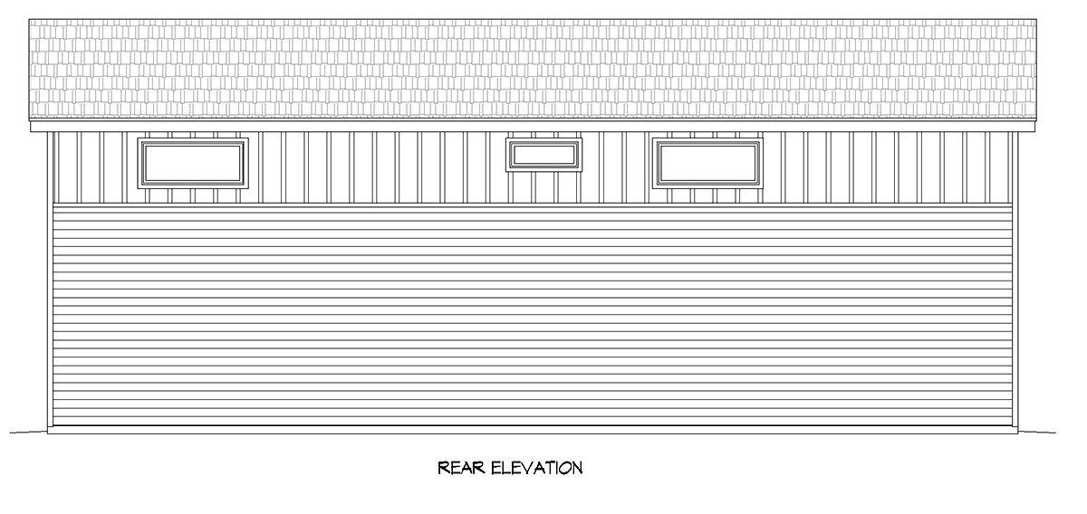 Contemporary, Modern Multi-Family Plan 40889 with 2 Beds, 1 Baths, 4 Car Garage Rear Elevation