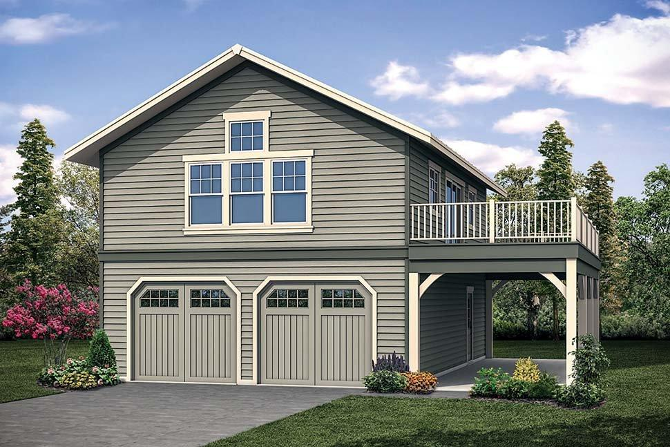Craftsman, Traditional 2 Car Garage Apartment Plan 41315 Elevation