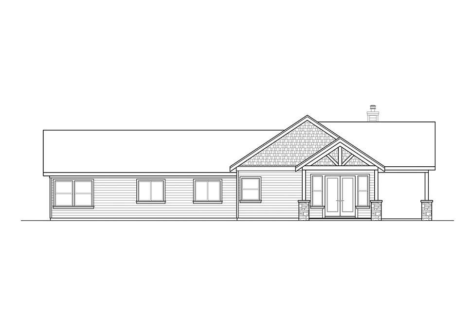 Craftsman, Ranch, Traditional House Plan 41320 with 3 Beds, 3 Baths, 2 Car Garage Rear Elevation