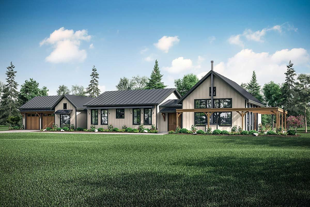 Country, Craftsman, Ranch, Traditional House Plan 41399 with 4 Beds, 2 Baths, 2 Car Garage Elevation