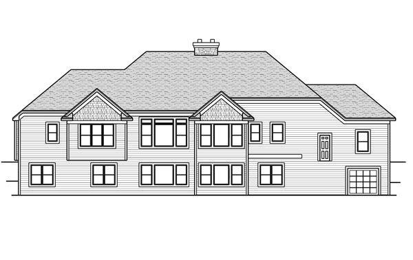 House Plan 42648 with 4 Beds, 5 Baths, 4 Car Garage Rear Elevation