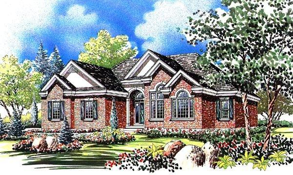 European House Plan 44814 with 3 Beds, 3 Baths, 2 Car Garage Elevation