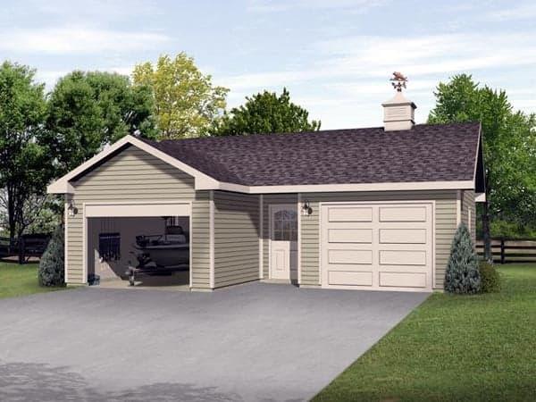 2 Car Garage Plan 45126 Elevation