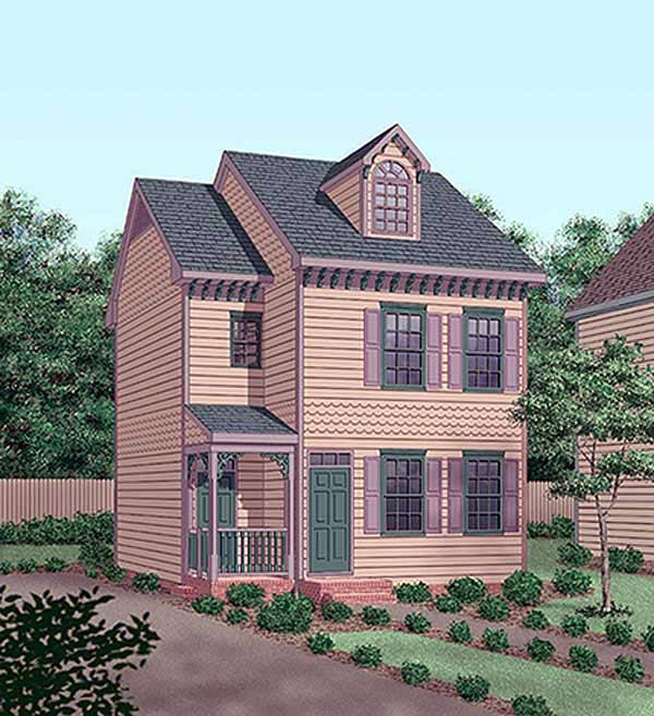 Narrow Lot House Plan 45379 with 2 Beds, 3 Baths Elevation