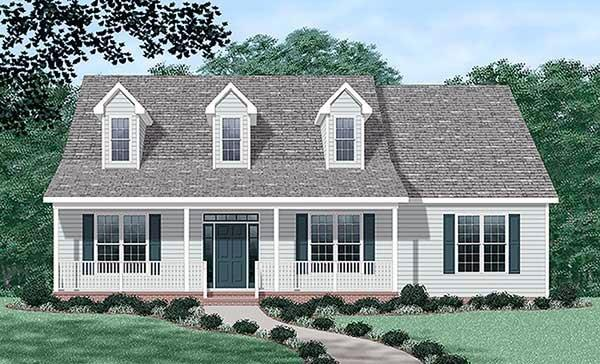 Cape Cod, One-Story House Plan 45440 with 3 Beds, 2 Baths Elevation