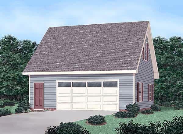 2 Car Garage Plan 45444 Elevation