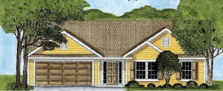One-Story, Ranch House Plan 45615 with 3 Beds, 2 Baths, 2 Car Garage Elevation