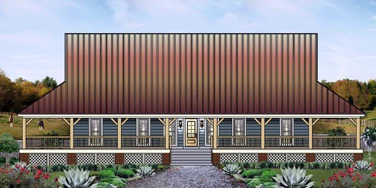 Country, Farmhouse, Ranch House Plan 45764 with 3 Beds, 2 Baths Elevation