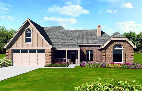 House Plan 47405 with 3 Beds, 2 Baths, 2 Car Garage Elevation