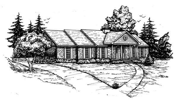 Traditional House Plan 47761 with 4 Beds, 3 Baths, 2 Car Garage Elevation