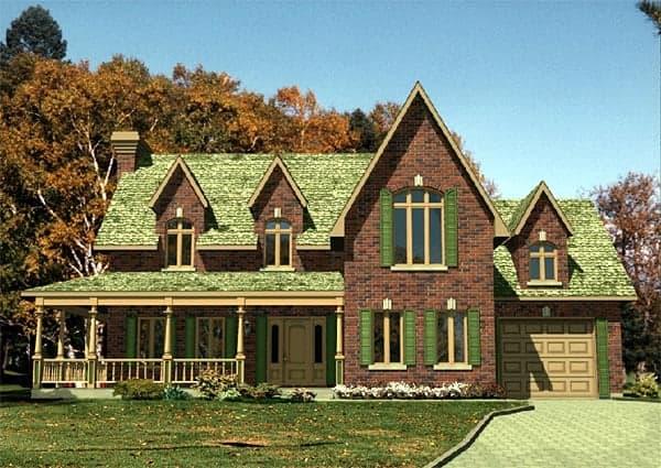 Farmhouse, Narrow Lot House Plan 48116 with 3 Beds, 2 Baths, 1 Car Garage Elevation