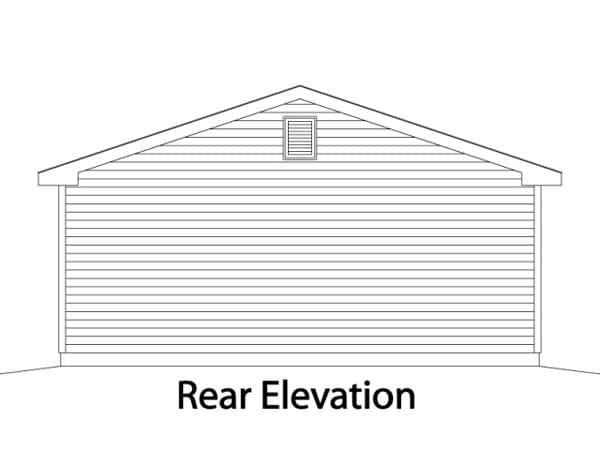 2 Car Garage Plan 49067 Rear Elevation
