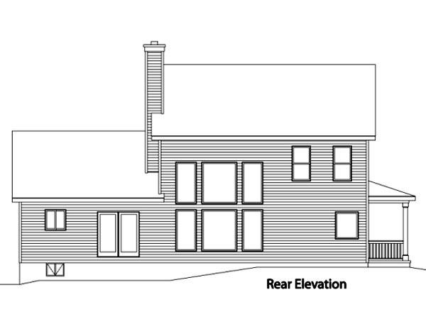 House Plan 49102 with 4 Beds, 4 Baths, 2 Car Garage Rear Elevation
