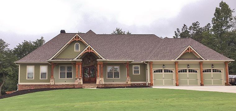 Craftsman, Ranch, Traditional House Plan 50264 with 4 Beds, 3 Baths, 3 Car Garage Elevation
