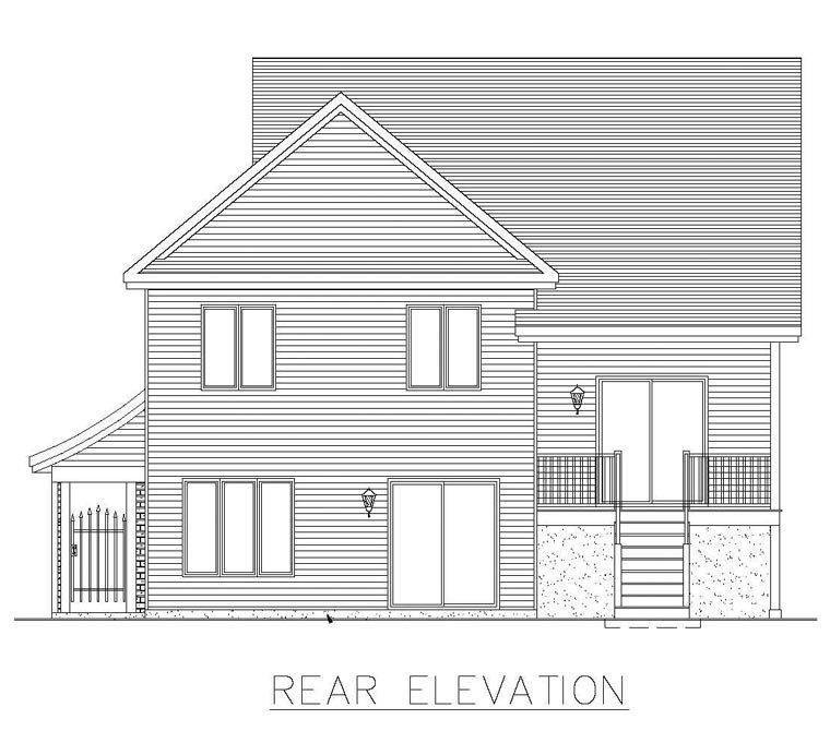 House Plan 50308 with 4 Beds, 2 Baths Rear Elevation