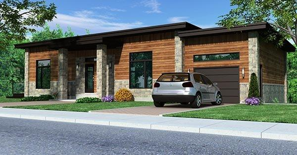 Contemporary House Plan 50346 with 4 Beds, 3 Baths, 2 Car Garage Elevation