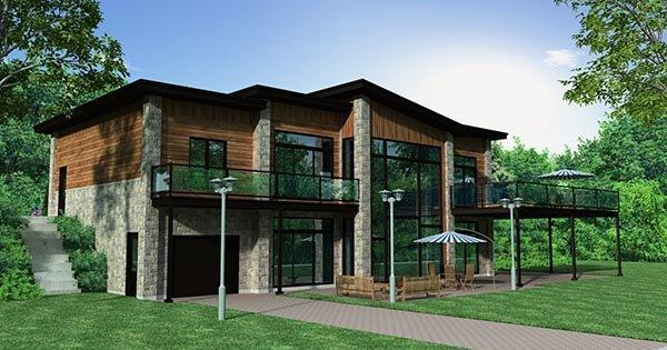 Contemporary House Plan 50346 with 4 Beds, 3 Baths, 2 Car Garage Rear Elevation