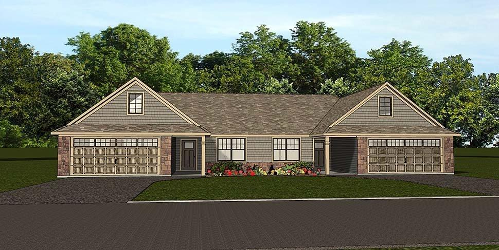 Colonial, Cottage, Country, Craftsman, Ranch, Traditional Multi-Family Plan 50789 with 6 Beds, 4 Baths, 4 Car Garage Elevation