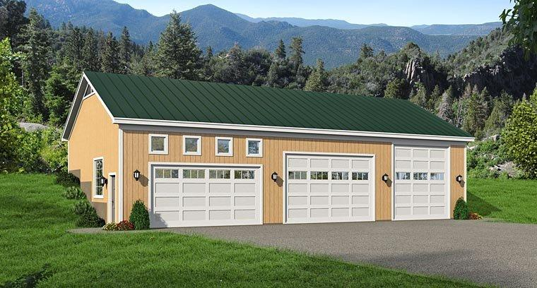 5 Car Garage Plan 51442, RV Storage Elevation