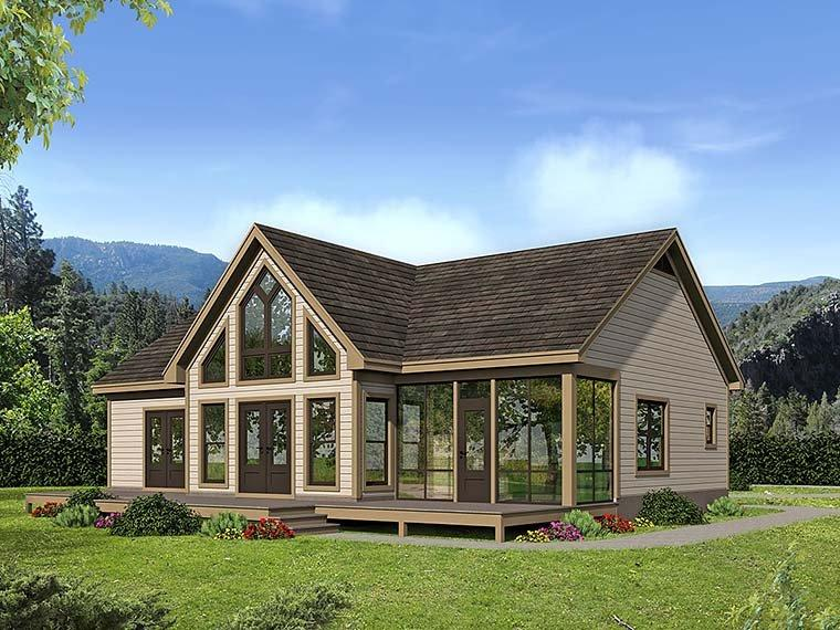 Cabin, Contemporary, Southern, Traditional House Plan 51547 with 2 Beds, 2 Baths Rear Elevation
