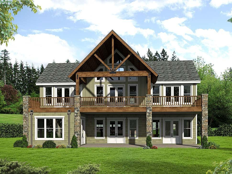 Colonial, Southern, Traditional House Plan 51599 with 3 Beds, 3 Baths, 2 Car Garage Rear Elevation