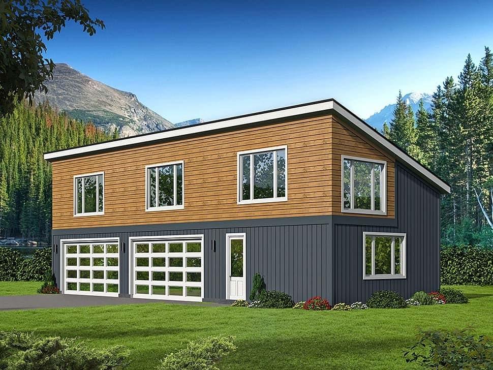 Contemporary, Modern 3 Car Garage Plan 51625 Elevation