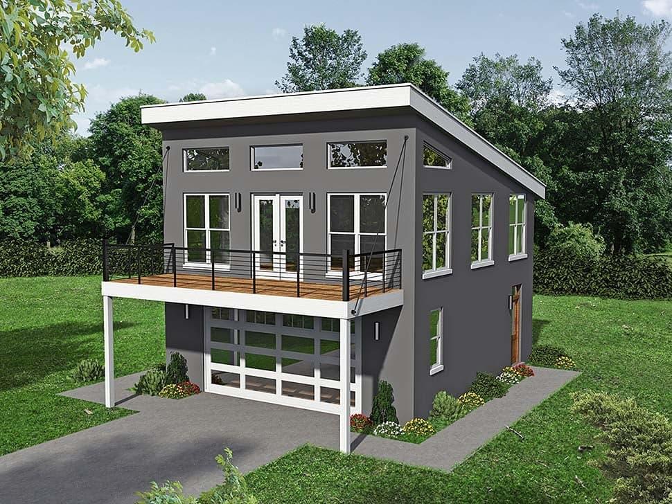 Coastal, Contemporary, Modern Garage-Living Plan 51680 with 1 Beds, 2 Baths, 2 Car Garage Elevation