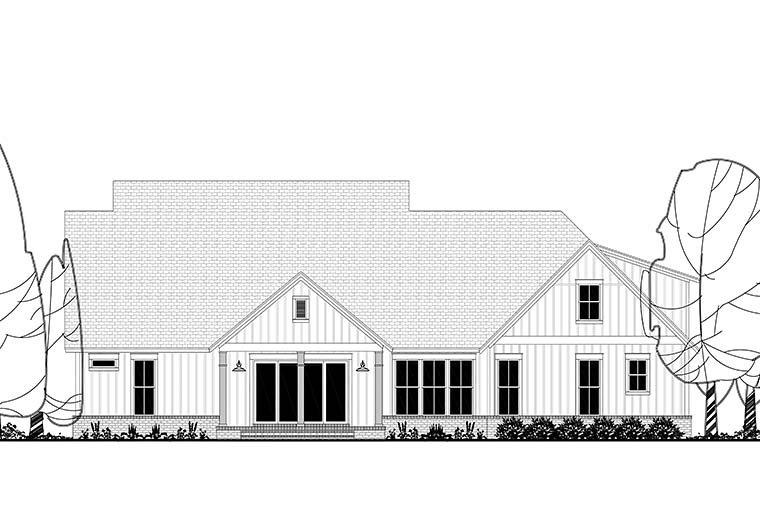 Country, Farmhouse, Southern House Plan 51974 with 4 Beds, 4 Baths, 3 Car Garage Rear Elevation