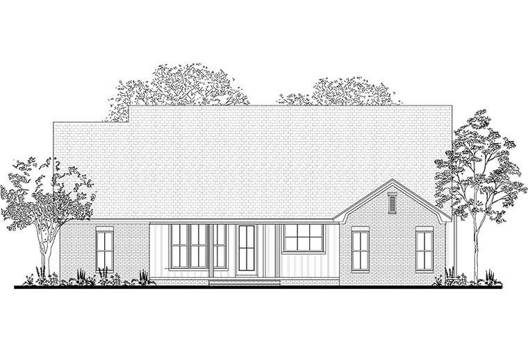 Country, European, Traditional House Plan 51986 with 3 Beds, 2 Baths, 2 Car Garage Rear Elevation