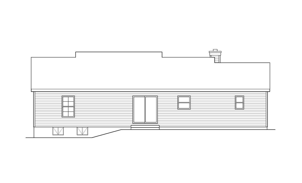 Ranch House Plan 52201 with 3 Beds, 2 Baths, 1 Car Garage Rear Elevation