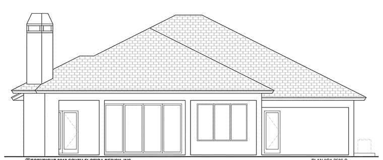 Coastal, Florida House Plan 52934 with 3 Beds, 3 Baths, 2 Car Garage Rear Elevation
