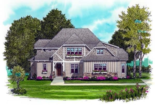 Craftsman, European House Plan 53720 with 4 Beds, 4 Baths, 2 Car Garage Elevation