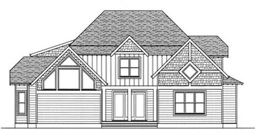 Craftsman, European House Plan 53720 with 4 Beds, 4 Baths, 2 Car Garage Rear Elevation