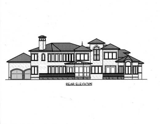 Mediterranean House Plan 53734 with 5 Beds, 6 Baths, 4 Car Garage Rear Elevation